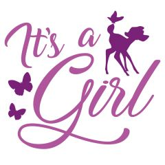 Geboortesticker It's a Girl met hertje